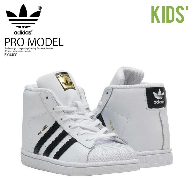 【アウトレット☆訳あり価格商品】 adidas(アディダス)PRO MODEL I (プロモデル I) ベビー&キッズ 乳幼児 スニーカー ハイカット FTWWHT/CBLACK/GOLDMT (ブラック/ホワイト) BY4400【箱ダメージ、汚れあり】
