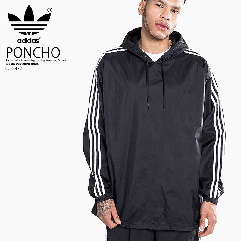 【希少!大人気! メンズ ジャケット】 adidas (アディダス) PONCHO WINDBREAKER (ポンチョ ウインドブレーカー) メンズ ジャケット ナイロン BLACK/WHITE (ブラック/ホワイト) CE2477