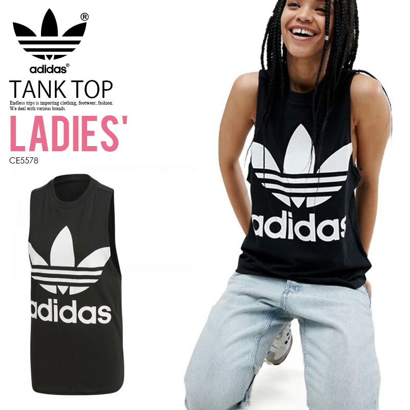 757f825640aa90 Rakuten shopping marathon adidas (Adidas) WOMENS TREFOIL TANK TOP  TREFOIL  TANK  (トレフォイルタンクトップ) LADYS women tank logo BLACK (black) CE5578 ...