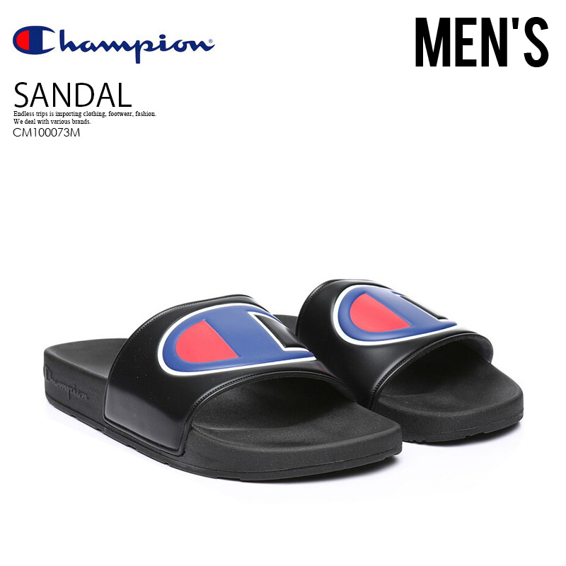 aecba54e4146 CHAMPION (champion) IPO SLIDE (IPO slide) healthy sandals BLACK (black)  CM100073M ENDLESS TRIP pickup