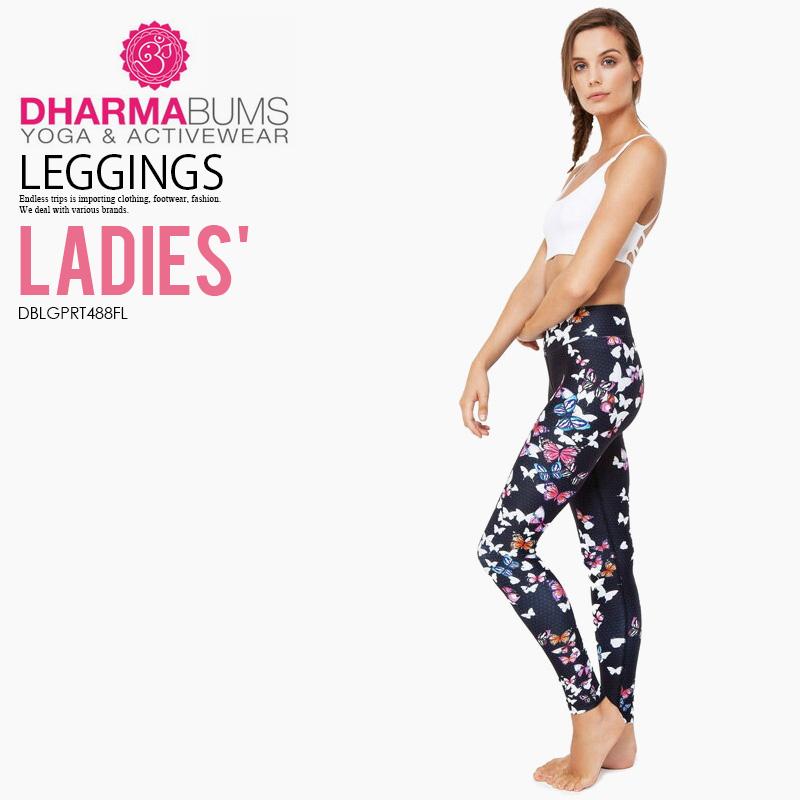 【希少!大人気!レディース ヨガ レギンス】 Dharma Bums (ダーマ バムズ) Butterfly Standard Waist Yoga Legging Full Length フィットネス スポーツ ウィメンズ Butterfly print (バタフライ) DBLGPRT488FL ENDLESS TRIP ENDLESSTRIP エンドレストリップ