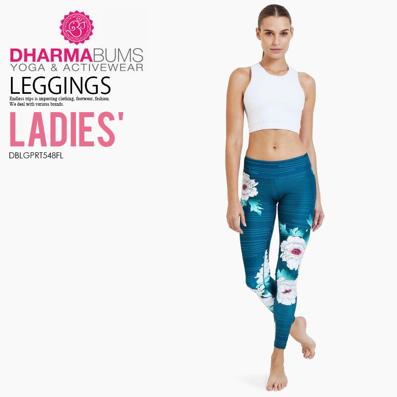 【希少!大人気!レディース ヨガ レギンス】 Dharma Bums (ダーマ バムズ) Oriental Flower High Waist Printed Yoga Legging Full Length ハイウエスト フィットネス Oriental Flower print (オリエンタル フラワー) DBLGPRT548FL ENDLESS TRIP エンドレストリップ