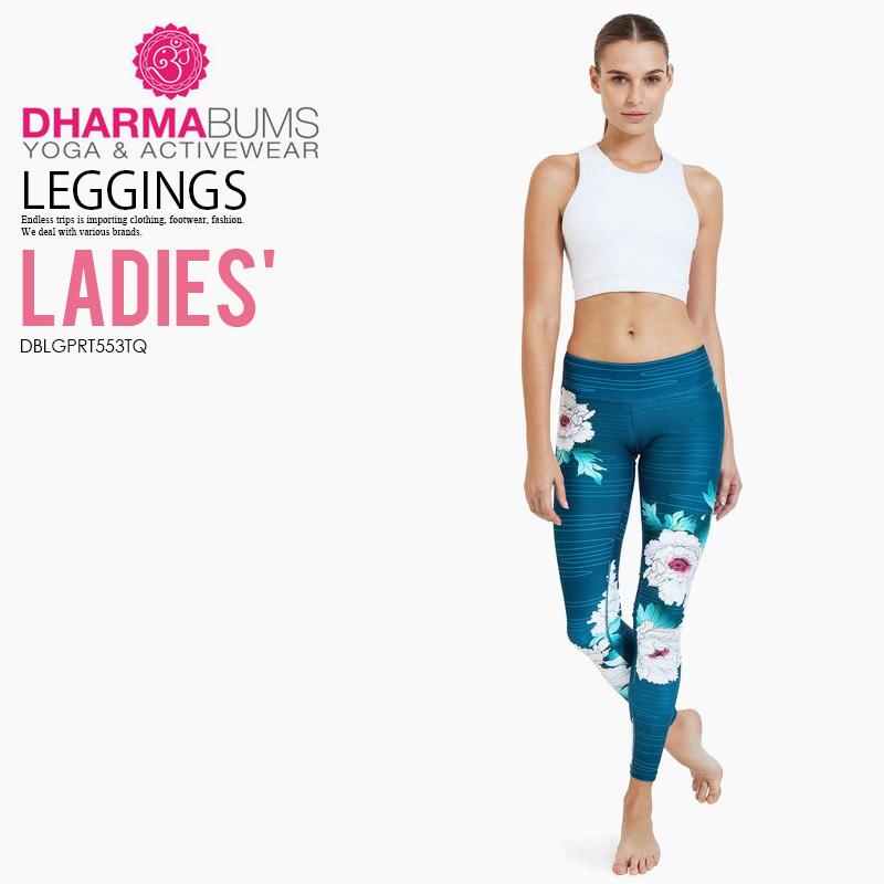 【希少!大人気!レディース ヨガ レギンス】 Dharma Bums (ダーマ バムズ) Oriental Flower Standard Waist Printed Yoga Legging Full Length フィットネス スポーツ Oriental Flower print (オリエンタル フラワー) DBLGPRT553TQ ENDLESS TRIP エンドレストリップ