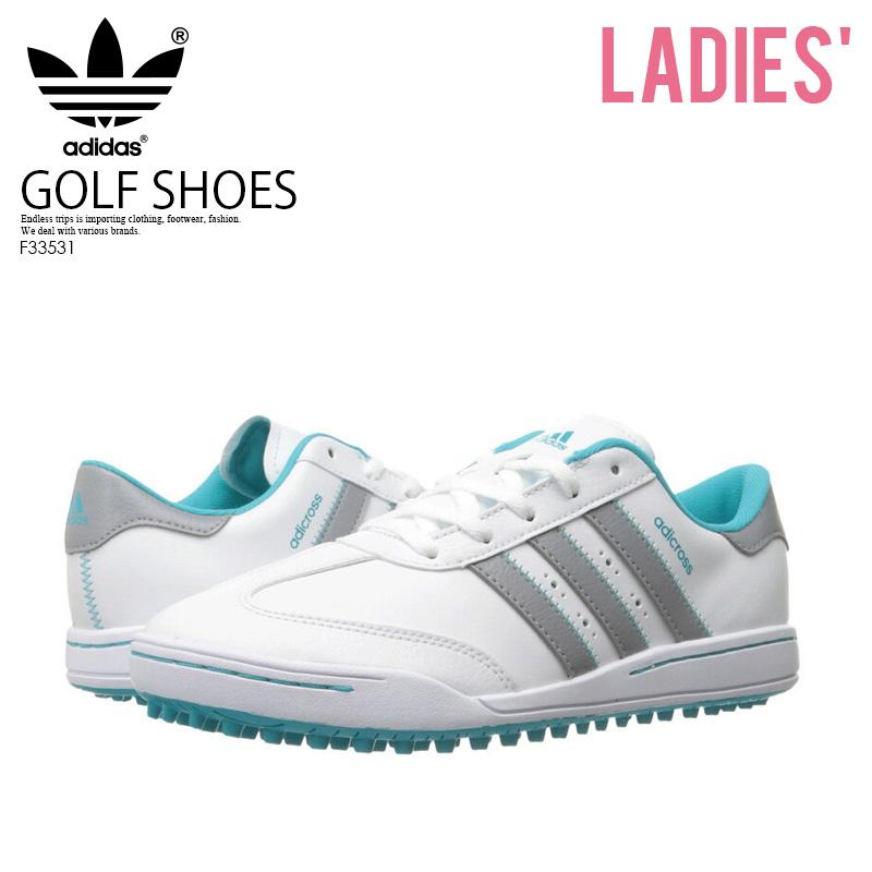 【希少!大人気!レディースサイズ ゴルフシューズ】 adidas (アディダス) Jr ADICROSS V (アディクロス 5) WOMENS GOLF SHOES スパイクレス FTWWHT/MIDGRE/ENEBLU (ホワイト/グレー/ブルー) F33531 ENDLESS TRIP ENDLESSTRIP エンドレストリップ