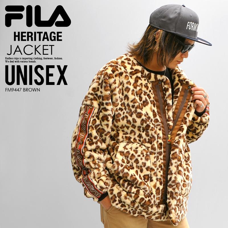 rozmiar 7 autentyczny pierwsza stawka FILA HERITAGE (Fila heritage) LEOPARD FAKE FUR V-NECK ZIP JACKET  (レオパードフェイクファー V neck zip jacket) outer men gap Dis hail pattern fur (brown)  FM9447 ...
