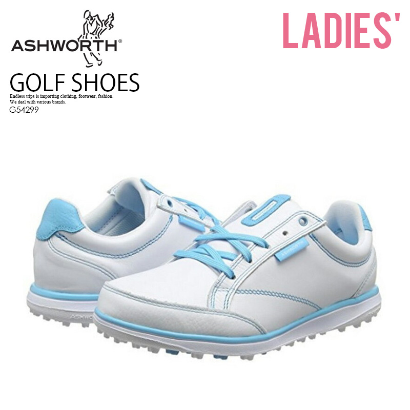 【希少!大人気!レディース ゴルフシューズ】 ASHWORTH (アシュワース) W CARDIFF ADC (カーディフ ADC) WOMENS GOLF SHOES スパイクレス WHITE/LGAQUA/AFBLUE (ホワイト/ライトブルー) G54299 ENDLESS TRIP ENDLESSTRIP エンドレストリップ