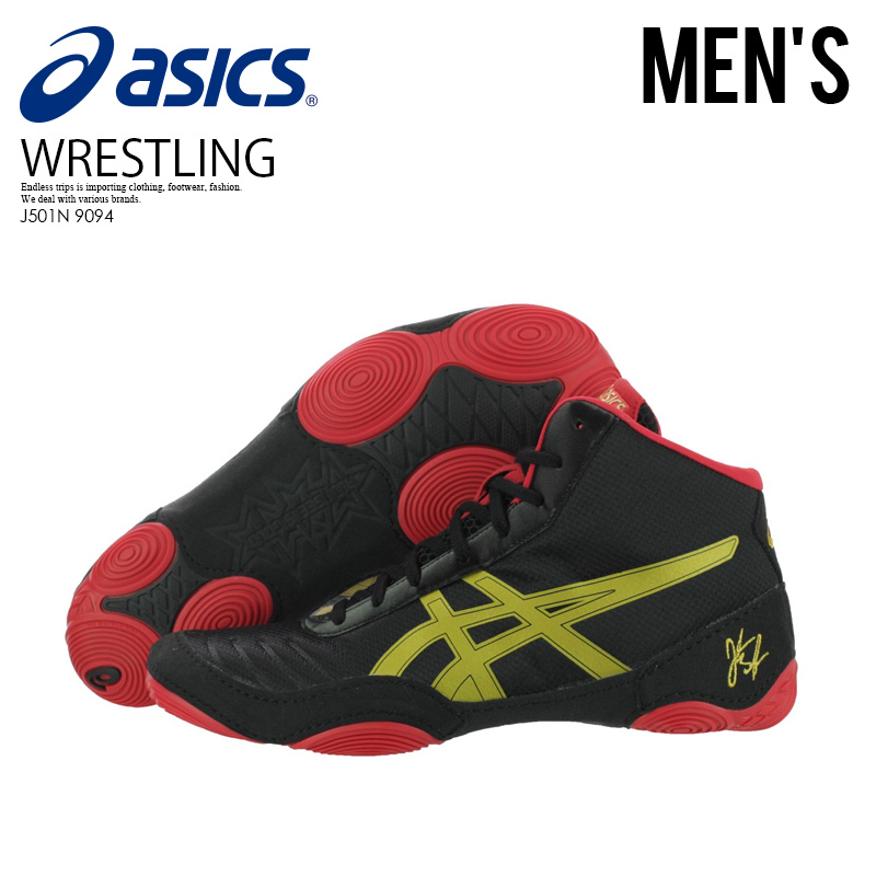 Asics (ASICS) Asics JB ELITE V2.0 JORDAN BURROUGHS WRESTLING SHOES JB elite Joe Damba Loews men gap sling shoes BLACKOLYMPIC GOLDRED black gold red