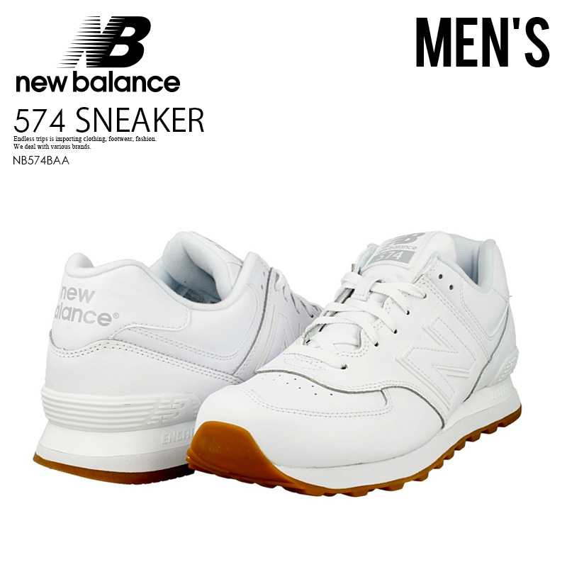 65a333424 NEW BALANCE 574 New Balance NB574BAA men leather shoes sneakers WHITE/GUM  (white ...