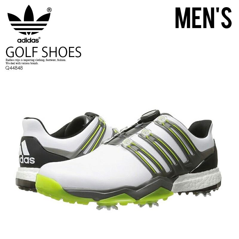 【アウトレット☆訳あり価格商品】【希少!ゴルフシューズ】 adidas (アディダス) POWERBAND BOA BOOST (パワーバンド ボア ブースト) MENS GOLF SHOES スパイク FTWWHT/IRONMT/SSLIME (ホワイト/グレー) Q44848【※箱ダメージ、もしくは別箱でのお届け】