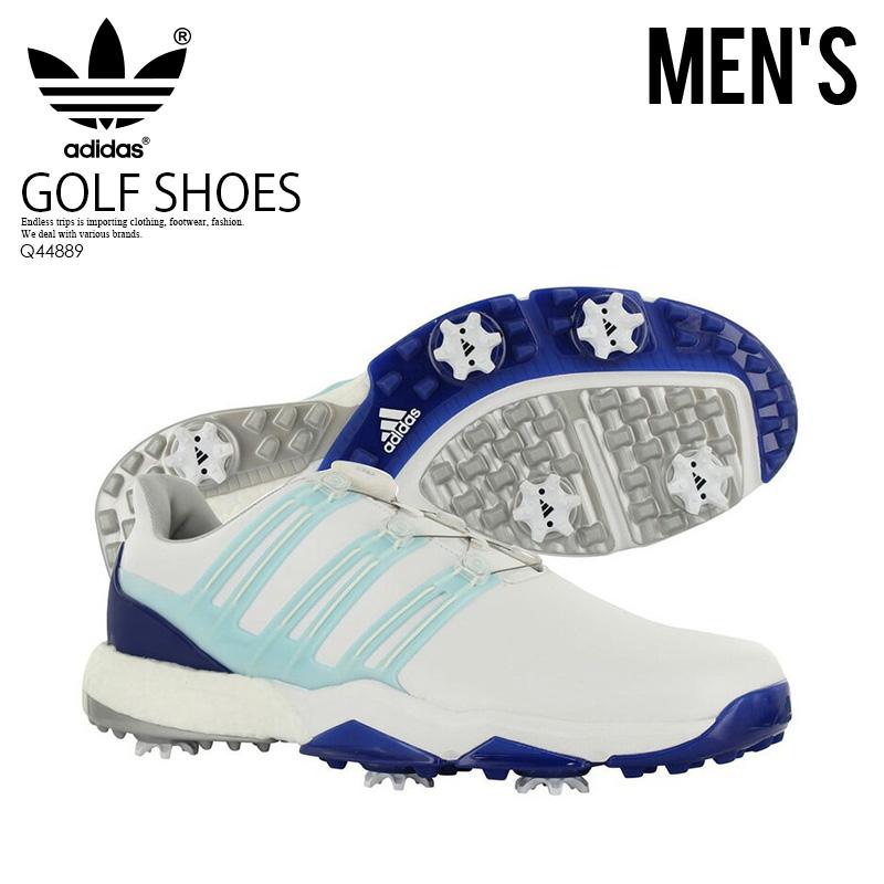 【日本未入荷!希少!メンズ ゴルフシューズ】 adidas (アディダス) POWERBAND BOA BOOST (パワーバンド ボア ブースト) MENS GOLF SHOES スパイク FTWWHT/ICEBLU/MYSINK (ホワイト/アイスブルー) Q44889 エンドレストリップ