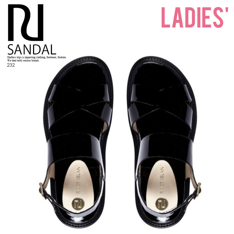 BLACK PATENT CHUNKY SOLE SANDALS