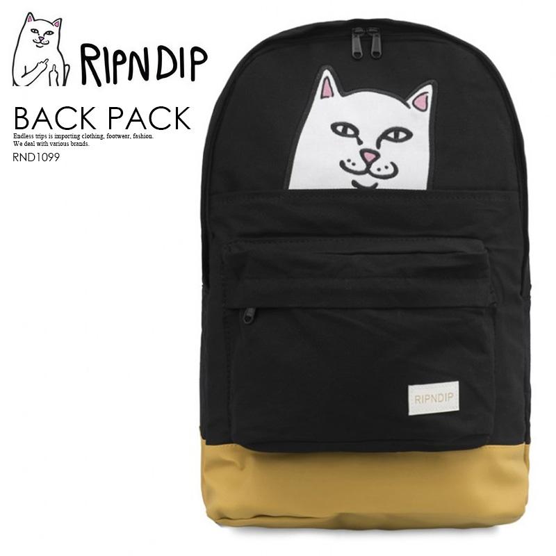 【希少!!限定品! ユニセックス バッグ】 RIPNDIP (リップンディップ) LORD NERMAL BACKPACK (ロード ナーマル バックパック) リュック BLACK (ブラック) ネコ ワッペン RND1099 ENDLESS TRIP ENDLESSTRIP エンドレストリップ