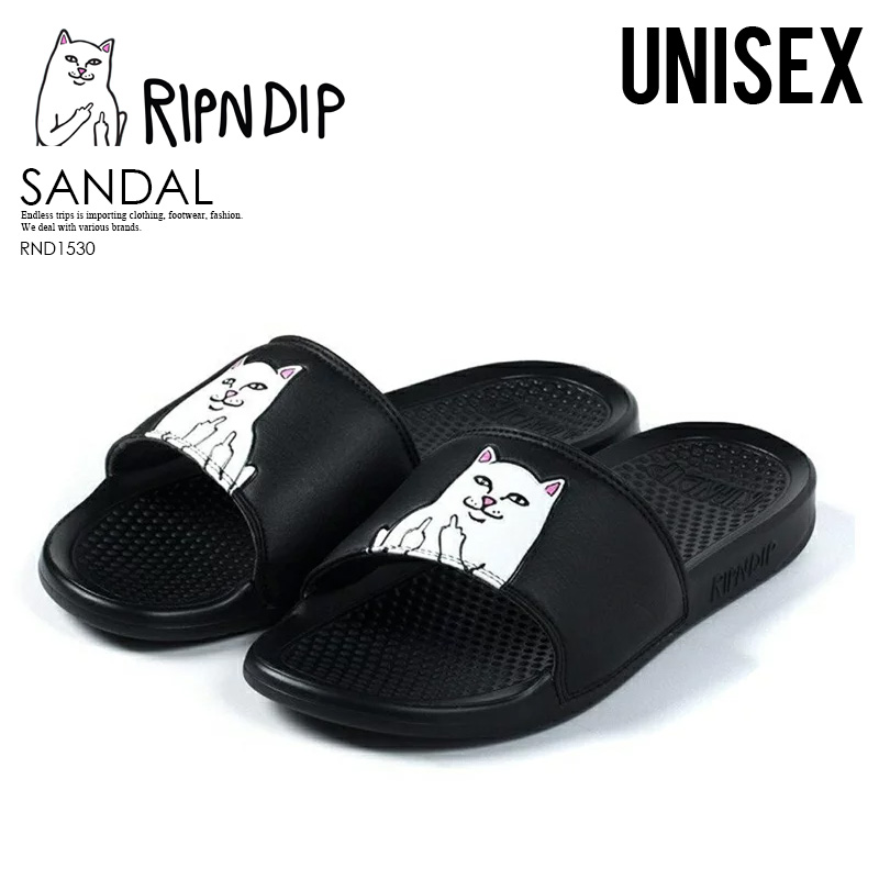 ENDLESS TRIP | Rakuten Global Market: RIPNDIP (リップンディップ) Lord Nermal Slides men gap Dis women shower sandals Hel sea sandals cat cat cat BLACK (black) (endless trip)