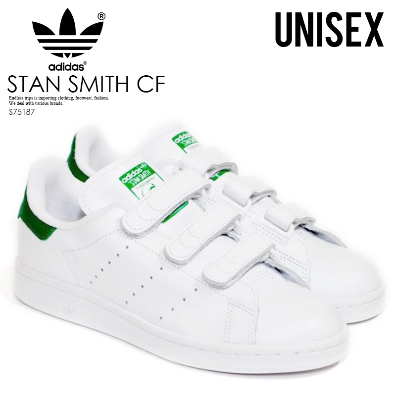 hot sale online 9bee9 b3f0a Rakuten supermarket SALE! adidas (Adidas) STAN SMITH CF (Stan Smith CF)  Velcro sneakers FTWWHT/FTWWHT/GREEN (white / green) S75187