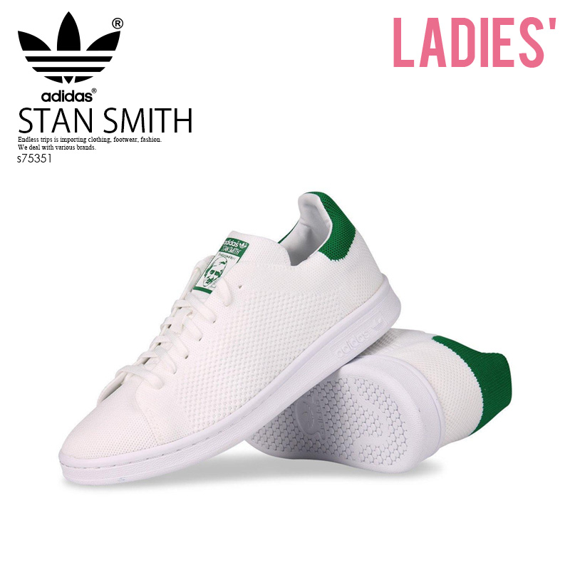 outlet store 134eb e944e Rakuten supermarket SALE! adidas (Adidas) STAN SMITH PRIMEKNIT J (Stan  Smith prime knit) PK J sneakers FTWWHT/FTWWHT/GREEN (white / green) S75351