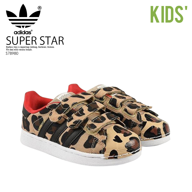 1605d3bb84dd adidas ORIGINALS (adidas) SUPERSTAR CF I (superstar CF I) baby   kids baby  Velcro sneakers CBLACK CBLACK RED (Leopard print mesh) S78980 ENDLESS TRIP  ...