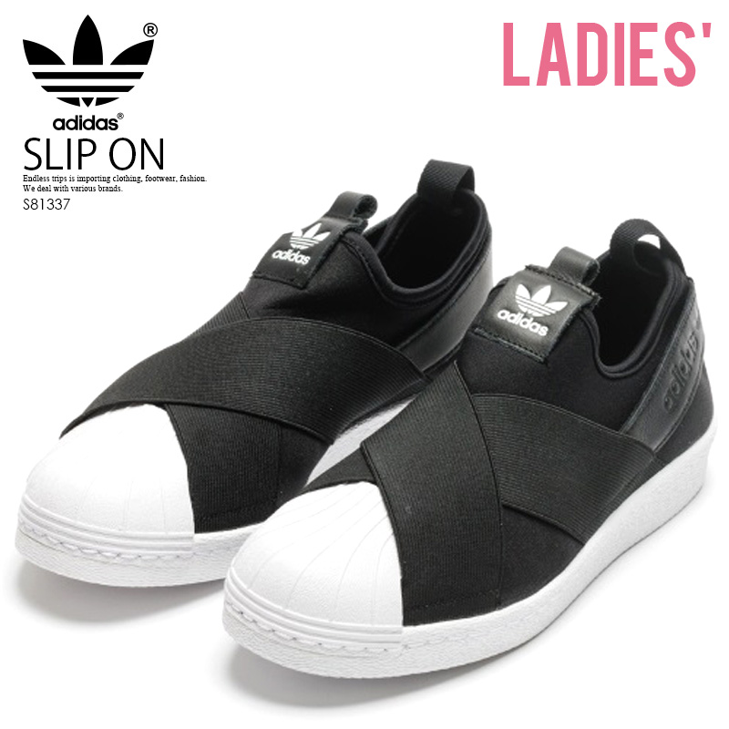 1d98386b873 adidas ORIGINALS (Adidas) SUPERSTAR SLIP ON W (superstar slip-ons) Lady s  shoes sneakers CBLACK CBLACK FTWWHT (black   white) S81337 ENDLESS TRIP ...
