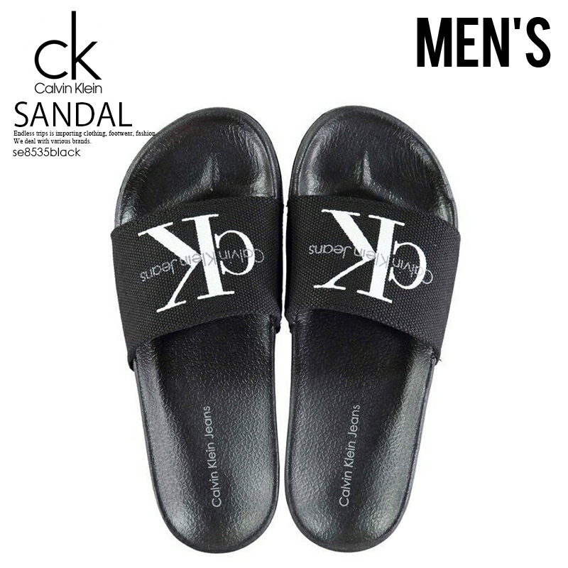 1730f6cc724aa Calvin Klein (Calvin Klein) Viggo Logo Sliders men logo sandals shower  sandals Hel sea sandals BLACK (black) ENDLESS TRIP ENDLESSTRIP end rest lip