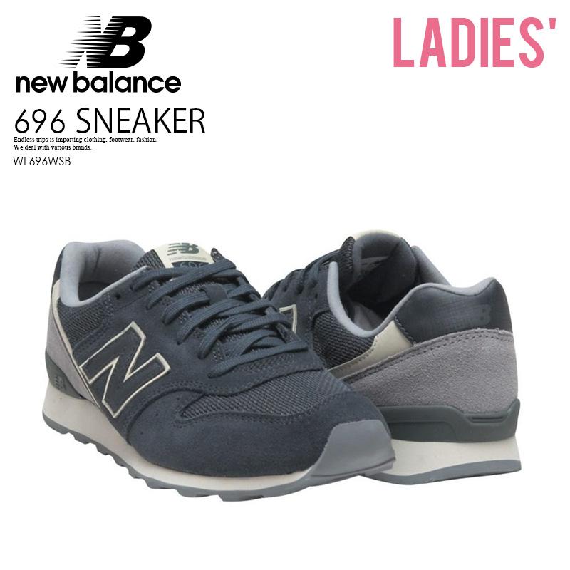 wholesale dealer 96367 81238 NEW BALANCE 696 New Balance WL696WSB Lady's shoes sneakers NAVY/GREY (navy  / gray) ENDLESS TRIP ENDLESSTRIP end rest lip