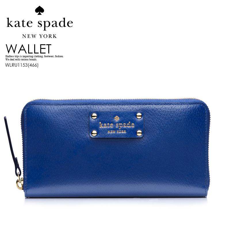 【大人気!希少!】kate spade ケイトスペード WELLESLEY NEDA (ウェルズリー ネダ) レディース ウォレット ラウンドファスナー長財布 WLRU1153 EMPEROR BLUE(466) (ブルー) ENDLESS TRIP pickup