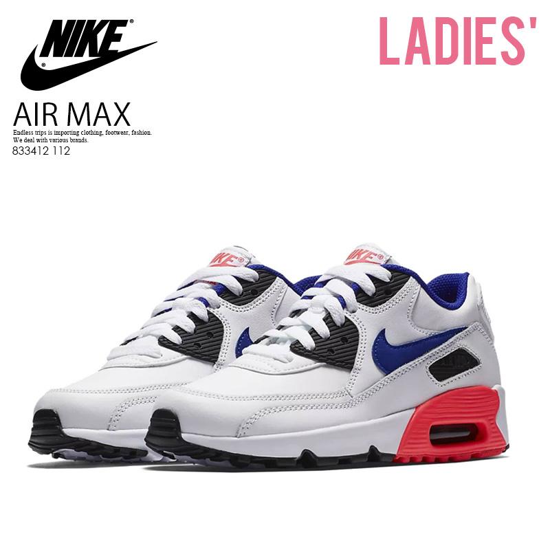 【日本未入荷! 海外限定! レディース サイズ】NIKE (ナイキ) AIR MAX 90 LEATHER (GS)(エア マックス 90 レザー) WOMENS ウィメンズ スニーカー WHITE/ULTRAMARINE-SOLAR RED (ホワイト/ブルー/レッド) 833412 112 ENDLESS TRIP