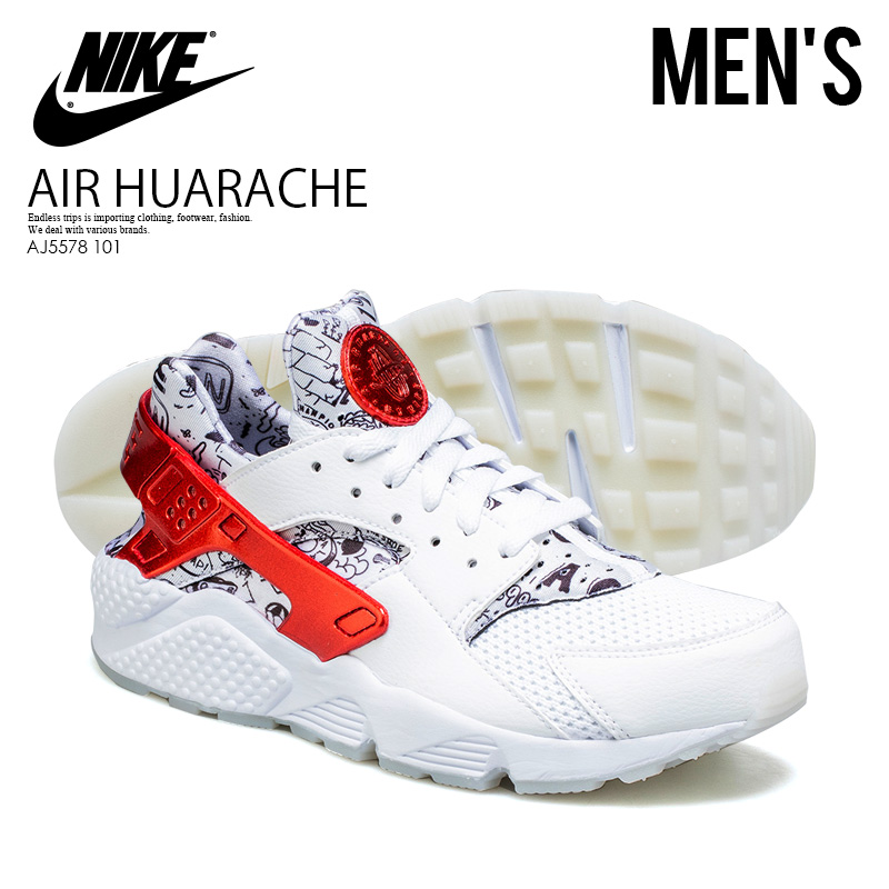 50c515ab6f43 NIKE (Nike) AIR HUARACHE RUN QS (SHOE PALACE 25TH ANNIVERSARY)  (エアハラチランシューパレス 25 weeks age anniversary) men s sneakers WHITE UNIVERSITY RED  ...