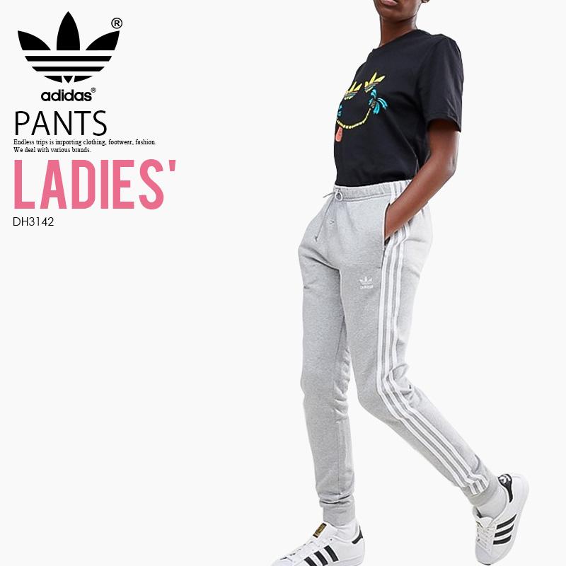 【大人気! 希少! レディース】 adidas (アディダス) WOMENS CUFFED TRACK PANTS (RGULAR TP CUFF) (カフド トラック パンツ) スキニー ジャージ ウィメンズ ボトムス MEDIUM GREY HEATHER (グレー) DH3142 アスレジャー スポーツミックス ENDLESS TRIP ENDLESSTRIP