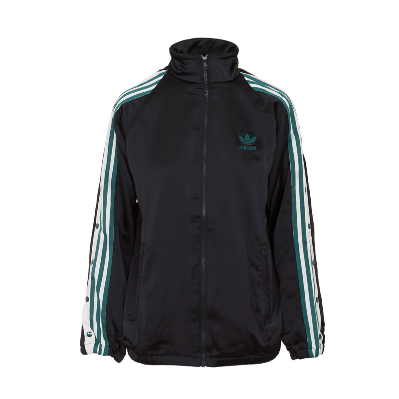 adidas (Adidas) ADIBREAK TRACK TOP SATIN JACKET (アディブレイクトラックトップサテンジャケット) long sleeves jersey jacket tops zip up Lady's women BLACK (black) DH4600