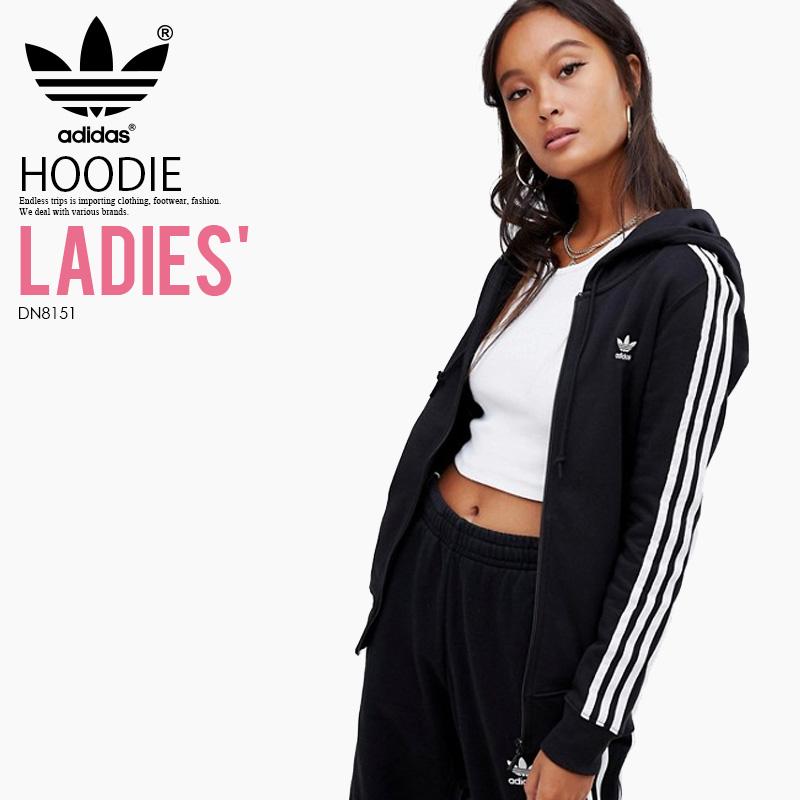 【日本未入荷! 海外限定! レディース モデル】 adidas (アディダス) WOMENS 3STRIPES ZIP HOODIE (3STR ZIP HOODIE) (スリーストライプス ジップ フーディ) 長袖 パーカー トップス ジップアップ レディース ウィメンズ BLACK (ブラック) DN8151 ENDLESS TRIP