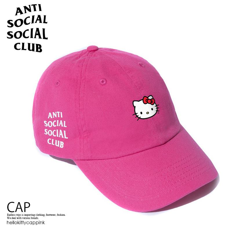 【日本未入荷!入手困難!】ANTI SOCIAL SOCIAL CLUB ( アンチソーシャル ソーシャルクラブ ) ASSC X HELLO KITTY CAP ハロー キティ コラボ キャップ 帽子 メンズ レディース PINK (ピンク) 限定商品 hellokittycappink エンドレストリップ