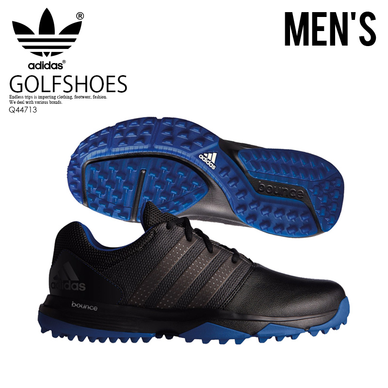 f43343a58 adidas (Adidas) 360 TRAXION (traction) MENS GOLF SHOES golf spikesless shoes  CBLACK DKSIMT CROYAL (black   gray   blue) Q44713