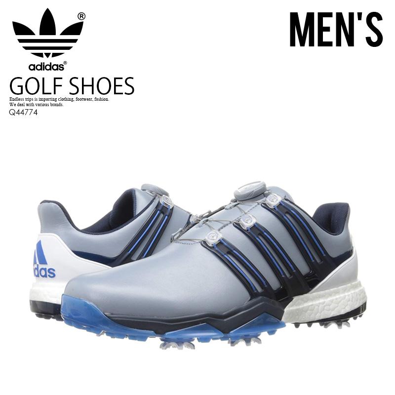 【日本未入荷!希少!メンズ ゴルフシューズ】 adidas (アディダス) POWERBAND BOA BOOST WD (パワーバンド ボア ブースト) MENS GOLF SHOES ゴルフ スパイク LGTGRE/STDARS/BLABLU (グレー/ブルー) Q44774 エンドレストリップ
