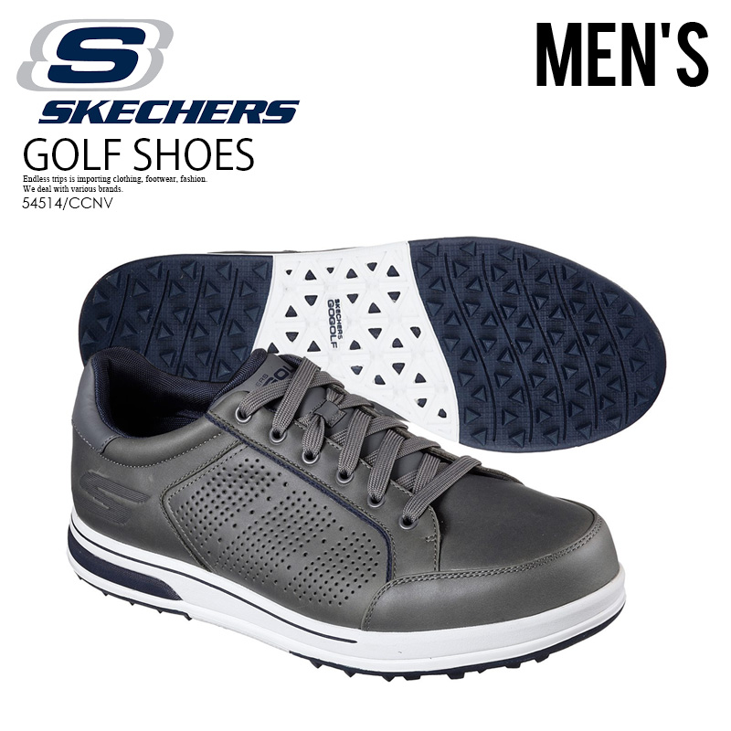 7c04b15c6022 SKECHERS (スケッチャーズ) GO GOLF DRIVE 2 LX (go golf drive) MENS golf spikesless  sneakers CHARCOAL NAVY (charcoal   navy) gray 54514 CCNV ENDLESS TRIP ...