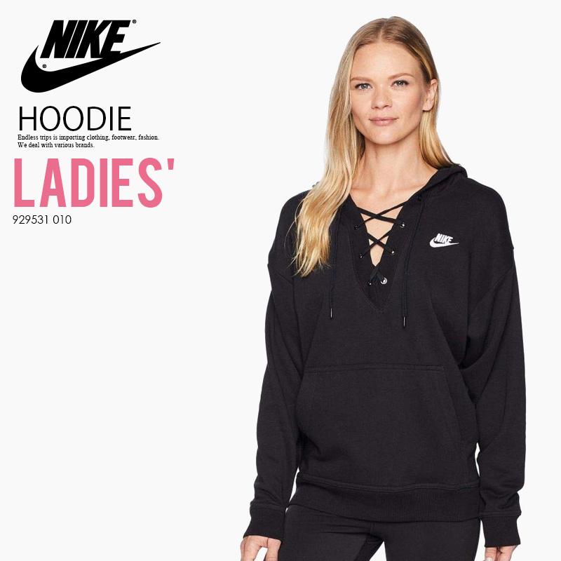 b0879b89347f NIKE (Nike) CLUB LACE-UP HOODIE (クラブレースアップフーディー) parka logo BLACK WHITE  (black   white) 929531 010 ass recreation sports mixture ENDLESS TRIP