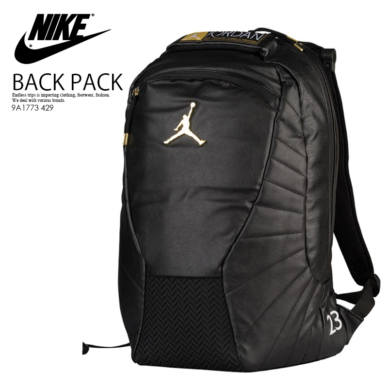 NIKE (Nike) JORDAN RETRO 12 BACKPACK (12 Jordan nostalgic backpacks) men s  lady s day pack rucksack BLACK METALLIC GOLD WHITE (black   gold   white)  9A1773 ... 55c7393eaba97
