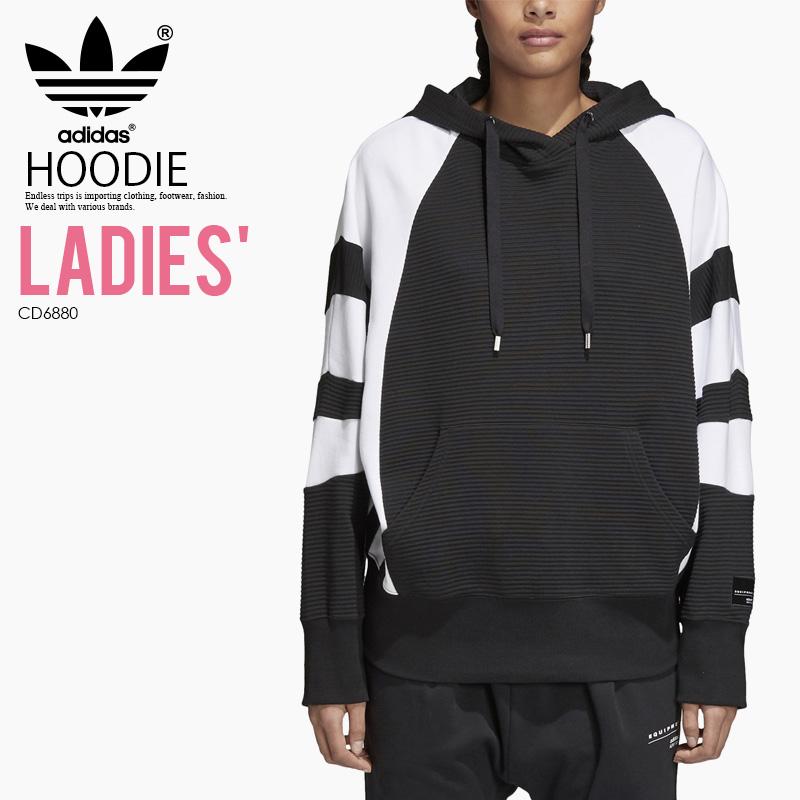 【日本未入荷! 希少! レディース モデル】 adidas (アディダス) WOMENS EQT HOODIE フーディー パーカー プルオーバー スウェット トップス BLACK/WHITE (ブラック ホワイト) CD6880 ENDLESS TRIP