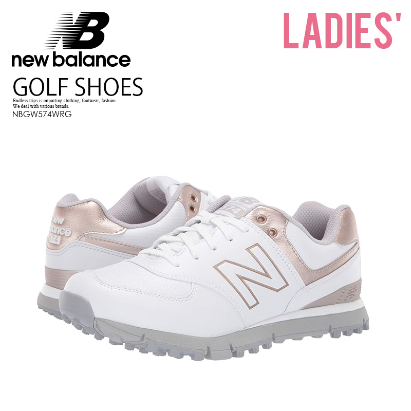 aa6e28e8391 NEW BALANCE (New Balance) NBGW574WRG GOLF SHOES golf WOMENS GOLF SHOES  spikesless WHITE ROSE GOLD (white   Rose gold) ENDLESS TRIP ENDLESSTRIP end  rest lip