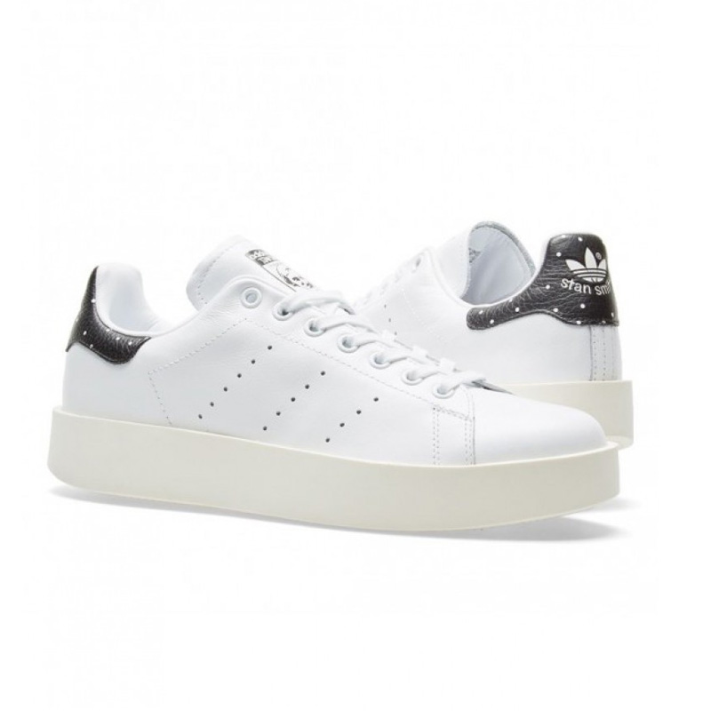 brand new ed209 b5d15 adidas (Adidas) STAN SMITH W (Stan Smith) thick-soled thick-soled sneakers  waterdrop dot pattern Lady's sneakers FTWWHT/FTWWHT/CBLACK (white / black)  ...