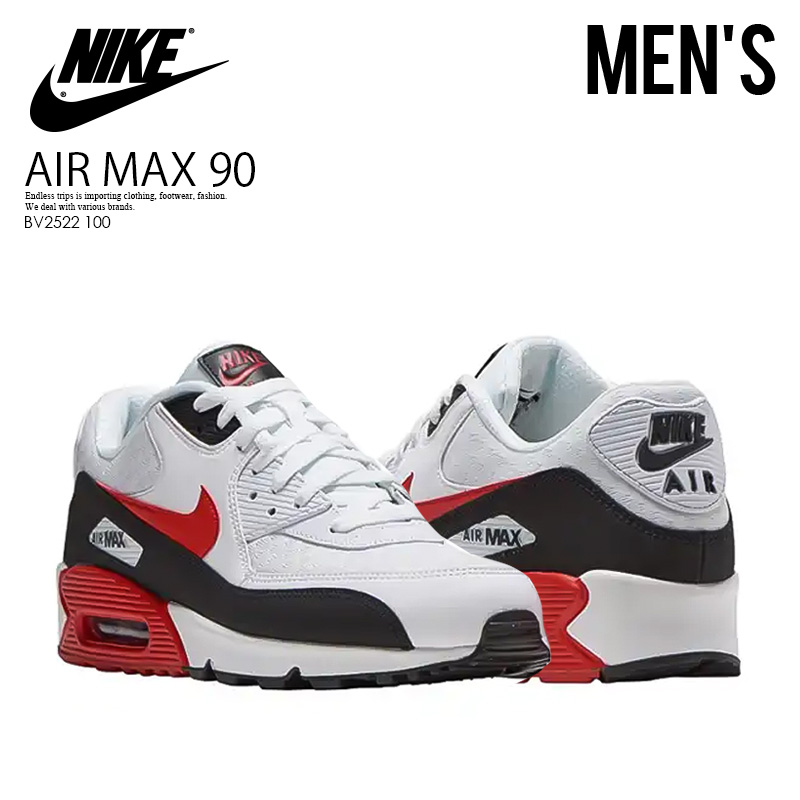 quality design 81688 002a7 NIKE (Nike) AIR MAX 90 ESSENTIAL (Air Max 90 essential) sneakers  WHITE/UNIVERSITY RED-BLACK (white red black) BV2522 100 ENDLESS TRIP  ENDLESSTRIP end ...