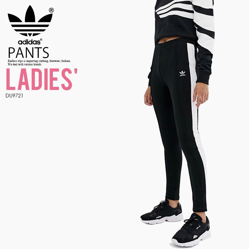 46ccc8e1 adidas (Adidas) WOMENS SIDE STRIPE PANTS (side stripe underwear) bottoms  skinny pants Kinney jersey underwear women BLACK/WHITE (black / white)  DU9721 ...