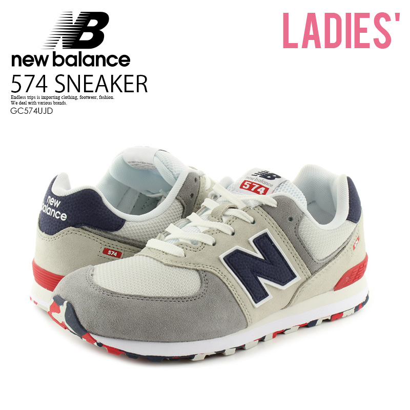 pretty nice de58b 304b6 NEW BALANCE (New Balance) 574 SNEAKER kids model sneakers NIMBUS CLOUD/TEAM  RED (white / red) GC574UJD end rest lip ENDLESSTRIP
