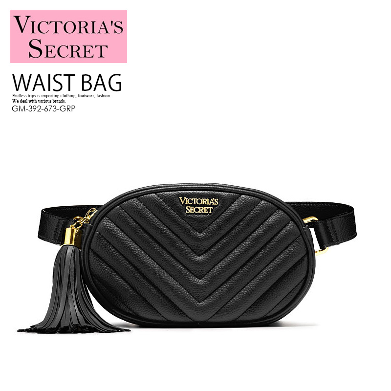 f78041a6d7225 VICTORIA'S SECRET (Victoria's secret) V-QUILT OVAL CITY BELT BAG (V kilt  Oval city belt bag) bum-bag body bag shoulder bag Lady's bag leather BLACK  ...