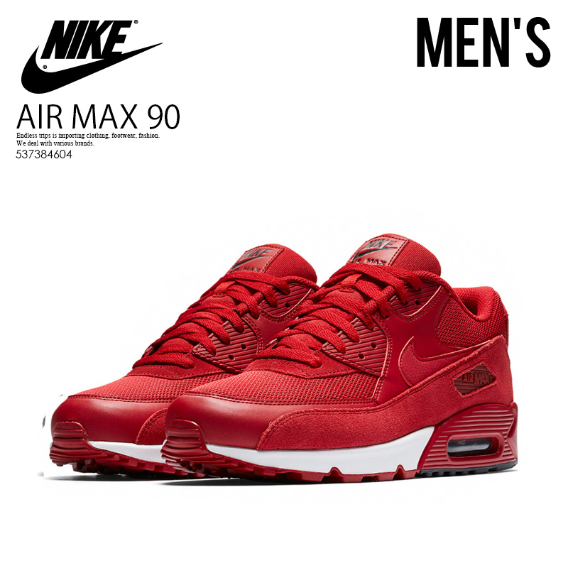 NIKE (Nike) AIR MAX 90 ESSENTIAL (Air Max 90 essential) MENS men sneakers GYM REDGYM RED BLACK WHITE (red black white) 537384 604