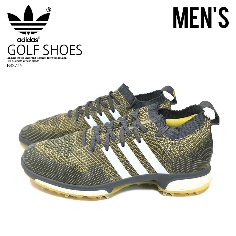 【大人気!希少!メンズ ゴルフシューズ】 adidas (アディダス) TOUR360 KNIT (ツアー360 ニット) MENS GOLF SHOES ゴルフ スパイク GREFIV/FTWWHT/EQTYEL (グレー/イエロー/ホワイト) F33745