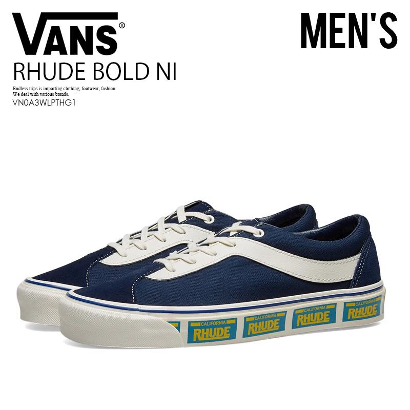 【希少! 大人気! RHUDExVANSコラボ】 VANS (ヴァンズ) RHUDE BOLD NI (ルード ボールドニー) バンズ スニーカー メンズ ローカット 青 ネイビー PLATE/BLUE (ブルー) VN0A3WLPTHG1