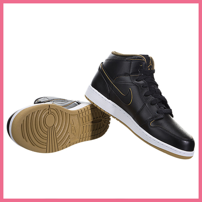 NIKE (Nike) AIR JORDAN 1 MID BG (Air Jordan) women sneakers BLACK/METALLIC  GOLD-WHITE (black) 554725 042 ENDLESS TRIP (endless trip)