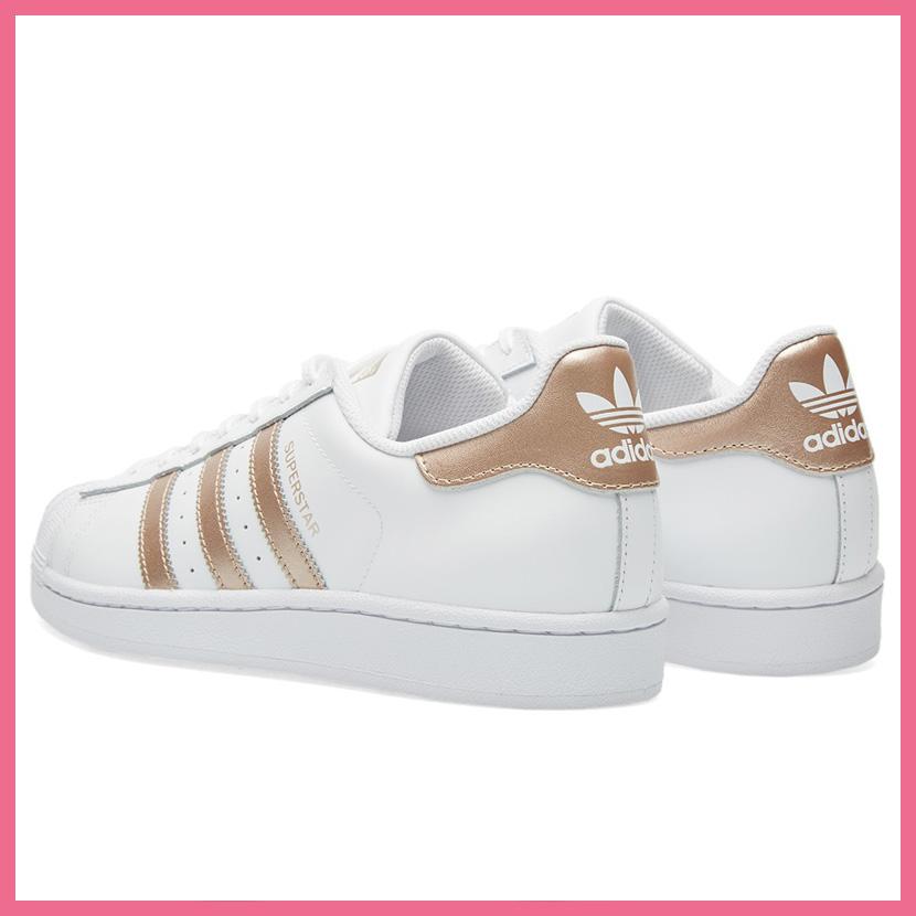 adidas(阿迪达斯)SUPERSTAR W(大明星)WOMENS妇女运动鞋鞋FTWWHT/SUPCOL/FTWWHT(白/玫瑰金属)BA8169