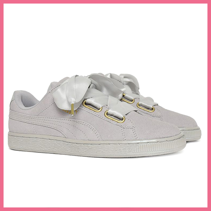 Rakuten size Thanksgiving Day! PUMA (Puma) SUEDE HEART SATIN WOMEN'S (suede heart satin) WOMENS women sneakers shoes ribbon GRAY VIOLET GRAY VIOLET