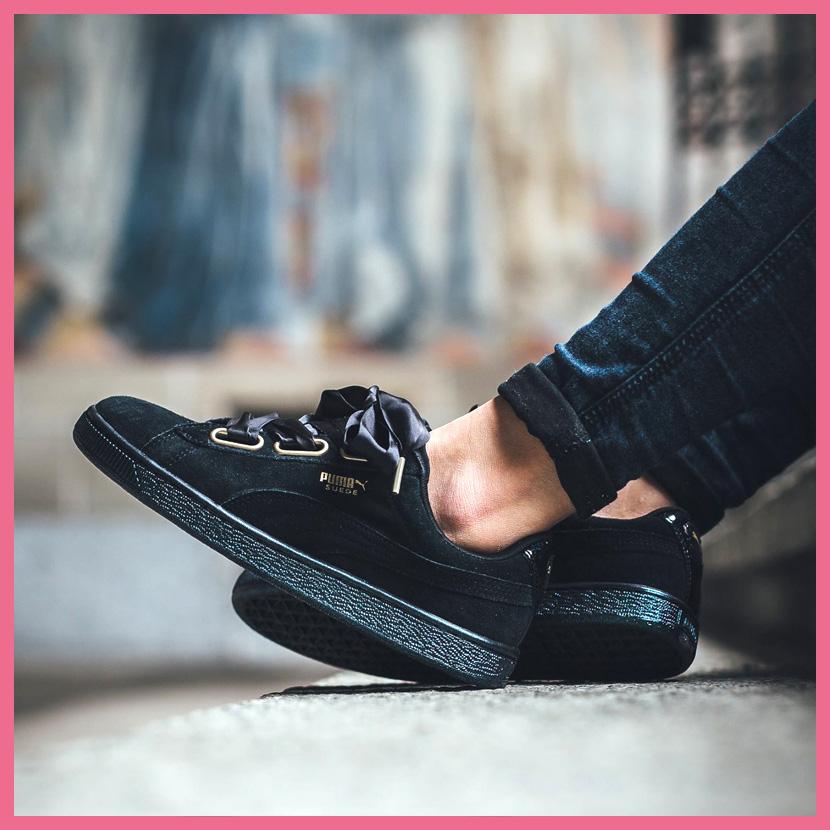 sports shoes 31560 acf42 puma suede heart satin black