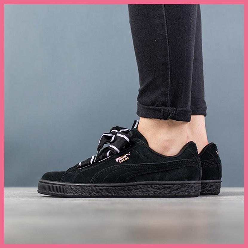 8d71d9634e47 PUMA (Puma) SUEDE HEART STAIN II WOMEN S (suede heart satin 2) WOMENS women  sneakers shoes ribbon PUMA BLACK-PUMA BLACK (black) 364